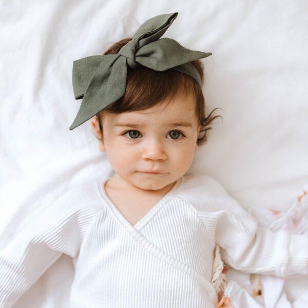 SHK Linen Headband Wrap Olive 2