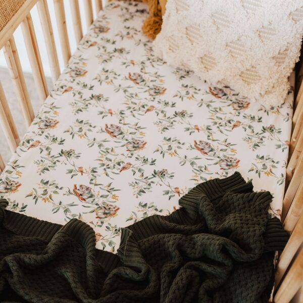 Eucalypt Fitted Cot Sheet 1